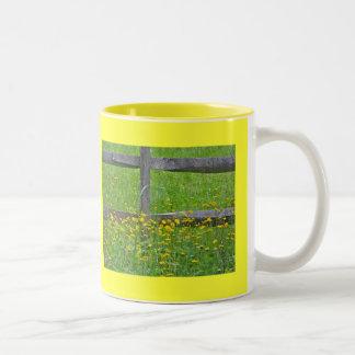 Hawkweed at Split Rail Fence Matching Items Two-Tone Coffee Mug