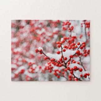Hawthorn berries under snow jigsaw puzzle