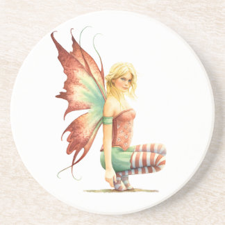 Hawthorn Fairy with red stockings on a branch Beverage Coasters