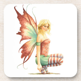 Hawthorn Fairy with red stockings on a branch Drink Coasters