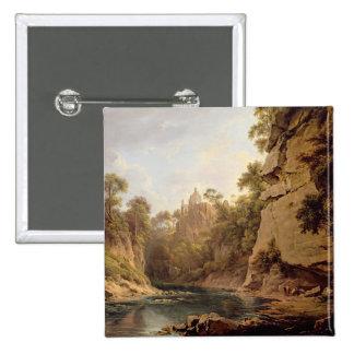 Hawthornden Castle, near Edinburgh, c.1820-22 (oil Pinback Button