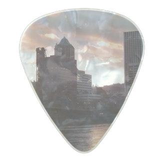 Hawthorne Bridge Portland Skyline Pearl Celluloid Guitar Pick