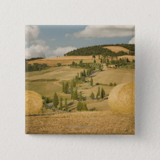 Hay bale and rolling landscape, Tuscany, Italy Button