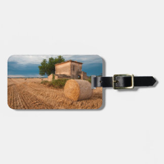 Hay bale in Provence field Bag Tag