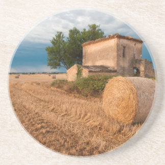 Hay bale in Provence field Coasters