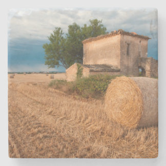Hay bale in Provence field Stone Beverage Coaster