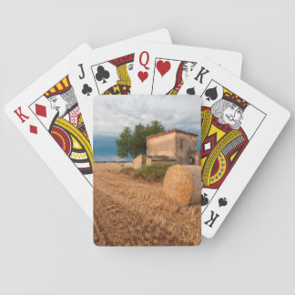 Hay bale in Provence field Poker Cards