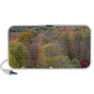 Hay bales and fall foliage, on a farm in laptop speaker