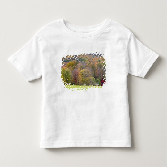 Hay bales and fall foliage, on a farm in toddler t-shirt