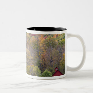 Hay bales and fall foliage, on a farm in Two-Tone coffee mug