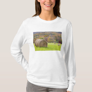 Hay bales and fall foliage on farm, T-Shirt