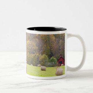 Hay bales and fall foliage on farm, Two-Tone coffee mug