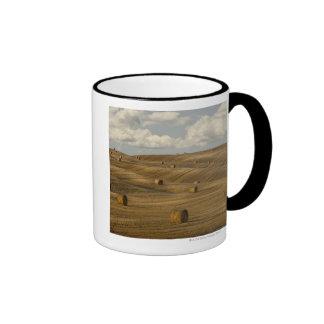 Hay bales and rolling landscape, Tuscany, Italy Ringer Mug