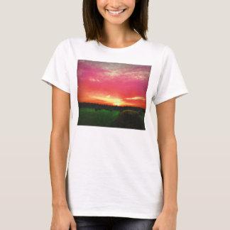 Hay Bales at Sunset Painting T-Shirt