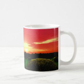 Hay Bales at Sunset Photo Coffee Mug