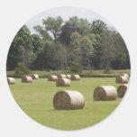 Hay bales classic round sticker