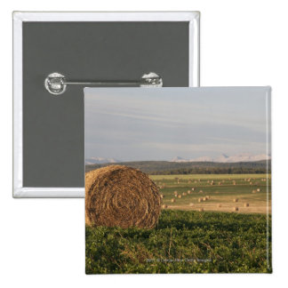 Hay Bales In A Field With Mountains At Sunrise 2 Inch Square Button