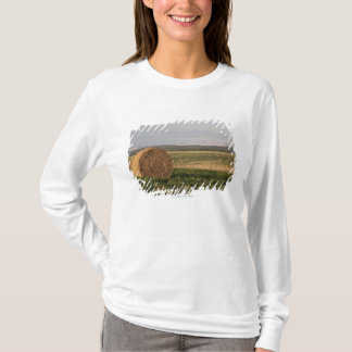 Hay Bales In A Field With Mountains At Sunrise T-Shirt