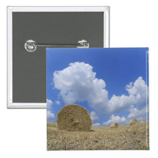 Hay Bales in Field, Pienza, Val d'Orcia, Siena 2 Inch Square Button
