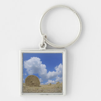 Hay Bales in Field, Pienza, Val d'Orcia, Siena Silver-Colored Square Keychain