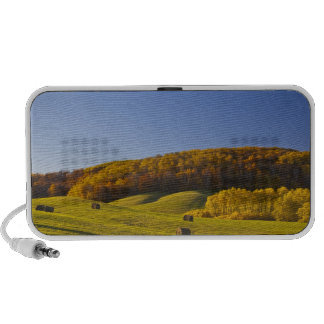 Hay bales in rolling hills in Maplewood State Portable Speakers