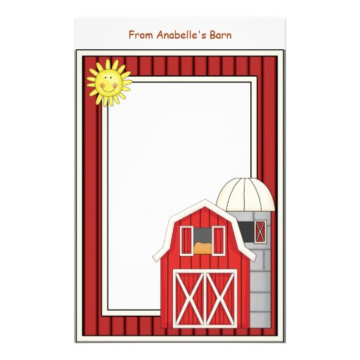 Hay Barn Agriculture Theme Kids Writing Paper Stationery Design