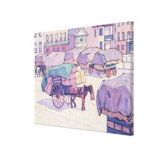 Hay Carts, Cumberland Market (oil on canvas) Canvas Print
