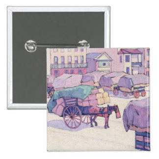 Hay Carts, Cumberland Market (oil on canvas) Pinback Button