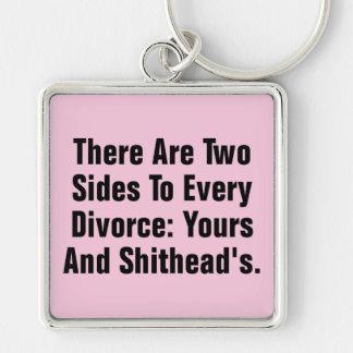 Hay dos lados a cada divorcio… llavero cuadrado plateado