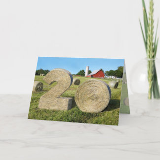 """""""Hay! Happy 20th!"""" greeting card with Hay Bales"""