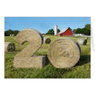 """Hay! Happy 20th!"" greeting card with Hay Bales"