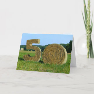 """Hay! Happy 50th!"" greeting card with Hay Bales"