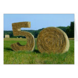 """""""Hay! Happy 50th!"""" greeting card with Hay Bales"""