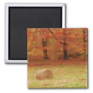 Hay Harvest In The Autumn Field 2 Inch Square Magnet