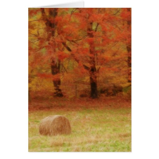 Hay Harvest In The Autumn Field Card