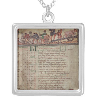 Hay-making and ploughing, from a Calendar Silver Plated Necklace