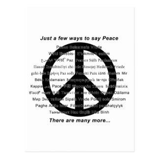 Hay muchas maneras de decir paz con símbolo postal