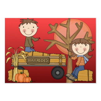 Hay Ride Autumn Party Invitations (boy)