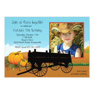 Hay Ride Photo Invitation