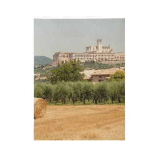Hay roll and monastery wood poster
