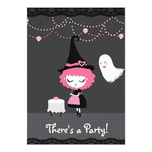¡Hay un fiesta! Invitación rosada de la bruja