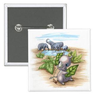 Hay un nuevo rinoceronte en botón de la plaza pin cuadrado