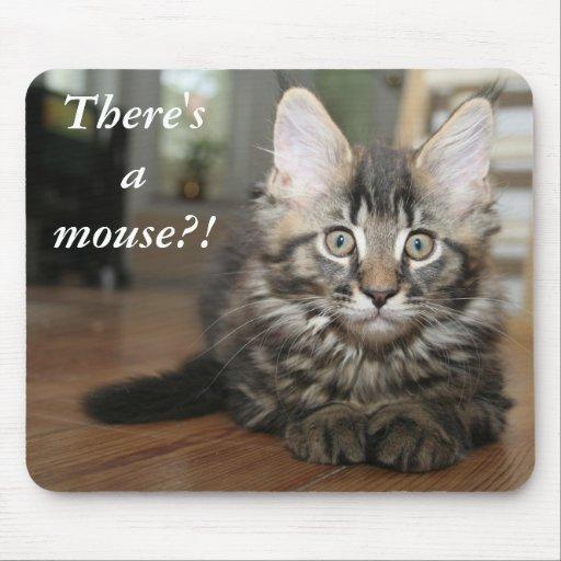 ¡Hay un ratón?! Gato divertido Mousepad