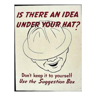 """¿Hay una idea debajo de su gorra? Caja de Folleto 8.5"""" X 11"""""""