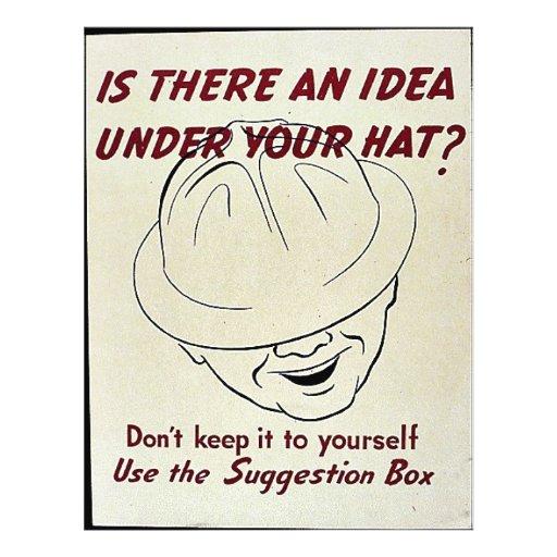 ¿Hay una idea debajo de su gorra? Caja de sugerenc Tarjetones