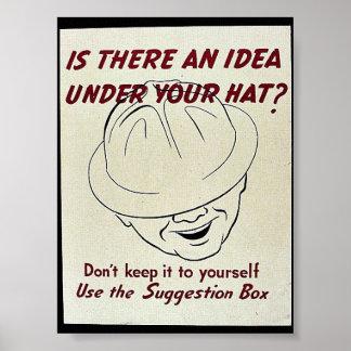 ¿Hay una idea debajo de su gorra? Caja de sugerenc Póster