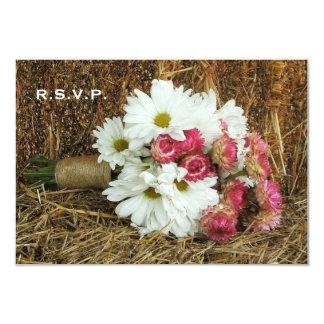 "Hay Wedding RSVP - Daisy & Pink Bouquet 3.5"" X 5"" Invitation Card"