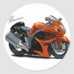 Hayabusa Orange Bike Round Stickers