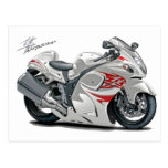 Hayabusa White-Red Bike Post Cards