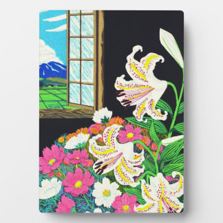 Hayashi Waichi Golden Rayed Lily and Cosmos Plaques